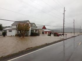 Flood waters buried E. Main Street and Brown Park in Gaston, Ore., Monday.