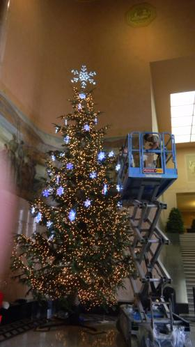 The Oregon state capitol Christmas tree is redecorated after being temporarily taken out of commission to fix a mistake in the installation process.