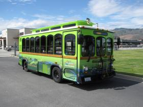 Link Transit has deployed this battery-electric trolley bus on downtown circulator routes.