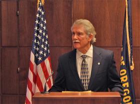 Oregon Governor John Kitzhaber speaks at the state capitol in Salem.
