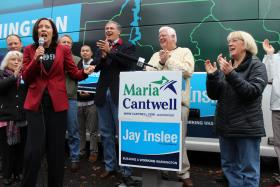 Democratic candidates Maria Cantwell, Jay Inslee, Jim McDermott and Sen. Patty Murray at Sunday's get-out- the-vote rally in South Seattle.