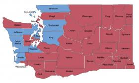 This map shows shows Washington's political divide, at least in the open race for governor.