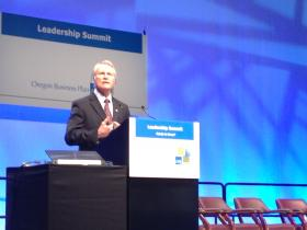 Oregon Governor John Kitzhaber speaks to the Oregon Leadership Summit.