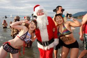 Santa stuck around for the 2012 Polar Bear Swim in Vancouver, BC.