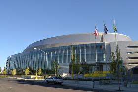 Photo of Matthew Knight arena in Eugene, Oregon.