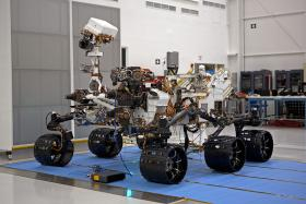 The Curiosity Rover, in Spacecraft Assembly Facility at NASA's Jet Propulsion Laboratory in Pasadena, California, before its launch.