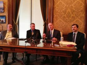 Senate Majority Leader Rodney Tom, second from right, says education reforms must come before additional funding.