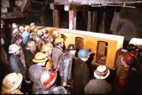 Miners begin work at the Sunshine Mine in 1972. The Mine is about 8 miles east of Kellogg, Idaho.