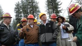 Secretary of Interior Ken Salazar visits an experimental restoration logging site near Grants Pass.