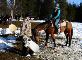 Dylan DeCrow and Jessica Spring prepare to compete at Sandpoint's skijoring competition.