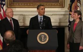 Interior Secretary Ken Salazar and President Barack Obama introducing Sally Jewell of REI.