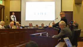LINE Commission Chairman Jeff Sayer explaining the recommendations to Idaho lawmakers Wednesday.