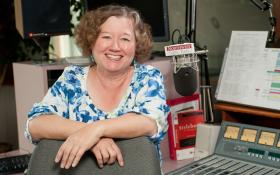 Classical Music Director Robin Rilette at home in the Northwest Public Radio studio at Washington State University.