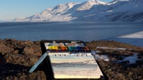An artist's sketchbook used in studying the landscape and nature in Greenland.
