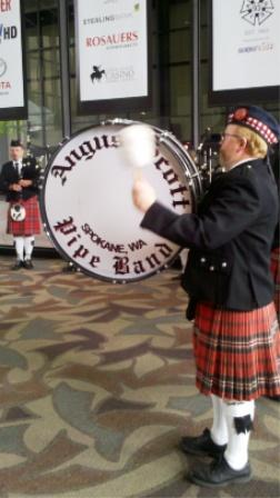 The Angus Scott Pipe Band performed at the memorial.