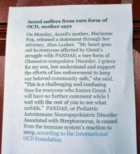 Grant Acord's mother posted this statement explaining her son's medical condition on the front door of her Albany home.