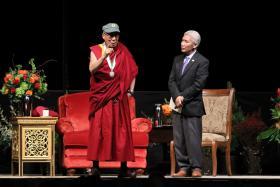 The Dalai Lama Spoke at the UO Matthew Knight Arena.