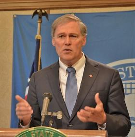 Washington Governor Jay Inslee speaks at a news conference in Olympia.