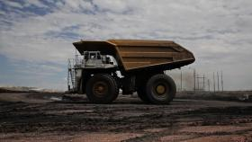 Heavy equipment moving coal at a mine in Wyoming.