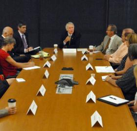 Oregon Governor John Kitzhaber meets with education and business leaders in Hillsboro.