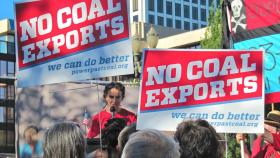 """Protest organizers held what they dubbed a """"people's hearing"""" outside the Oregon Department of Environmental Quality meetings in Portland. Resident Mark Hill said the department is not looking at the bigger picture."""