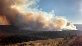 A column of smoke rises from the Mile Marker 28 Fire near Goldendale, Wash.