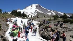 Campers at the Timberline on Mount Hood in July. Timberline is one of three ski areas in the Northwest exploring lift-assisted mountain biking as a summer recreation option.