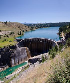 The Kerr Dam with Flathead Lake behind