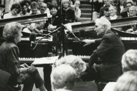 McPartland (left) and jazz pianist/composer Dave Brubeck (right) recording a live taping of Piano Jazz.