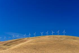 A series of windmills in the Walla Walla Valley in southeastern Washington.