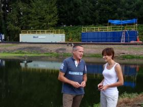 Blue Array co-owners James Reilly and Victoria Jelderks at the Vader sewage treatment plant.