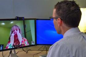 "Diana Rae of Tenino, WA demos ""virtual urgent care"" with Dr. Ben Green in Seattle, who sees her via Skype."