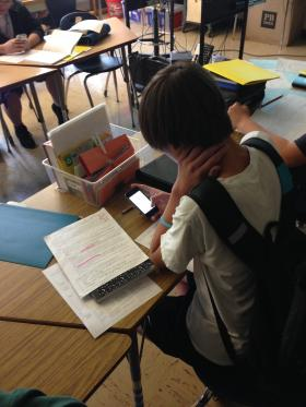 Students at Portland Madison High School use a social networking service called Celly to text their teacher thesis statements for a social studies essay.