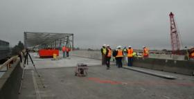 Crews slid the permanent section of the bridge into place Saturday September 14th.
