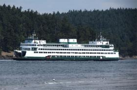 The MV Hyak in Upright Channel, in between Lopez Island and Shaw Island.