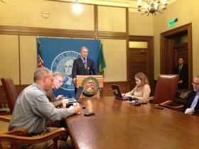 Washington Governor Jay Inslee addresses reporters in Olympia following the overwhelming vote by Boeing machinists to reject a Boeing contract offer