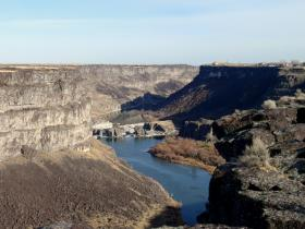 Snake River Canyon. Evel Knievel's 1974 launch ramp is the hump on the rim, top right.