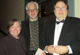 Robin Rilette, Executive Director Mark Wendenborn and Bryan Monohon, trombonist with the symphony for 15 years and the Mayor of Forks.