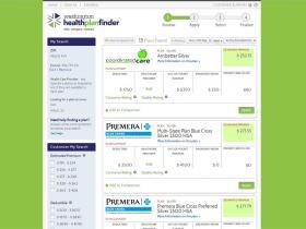 A screengrab of Washington's health plan finder website.