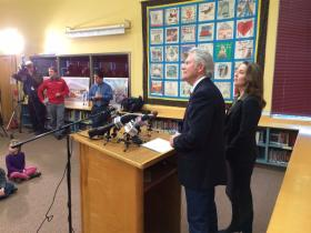 Oregon Governor John Kitzhaber announced his re-election bid at Earl Boyles Elementary School in Portland. He was joined by Oregon First Lady Cylvia Hayes.