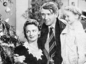 """George Bailey, played by Jimmy Stewart, rethinks a plan to kill himself in """"It's A Wonderful Life."""""""