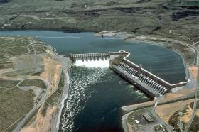 The Columbia River's Chief Joseph Dam near Bridgeport, Washington. The dam is operated by the U.S. Army Corps of Engineers.