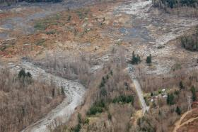 A view of mud-covered SR 530 after Saturday's landslide that struck near Oso, Washington.