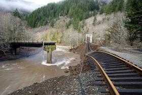 Many sections of the Port of Tillamook Bay Railroad washed into the Salmonberry River in a 2007 storm.