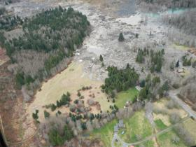 An aerial view of the landslide over SR 530 near Oso, Washington.