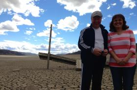 Eugene and Karen Penix live in the Sunland vacation community near Vantage, Wash. on the Columbia River above the cracked Wanapum Dam. Boat launches and docks in the community have been left high and dry from the drawdown of water behind the damaged dam.