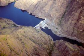 An aerial view of Hells Canyon Dam on the Snake River, the border between Oregon and Idaho.