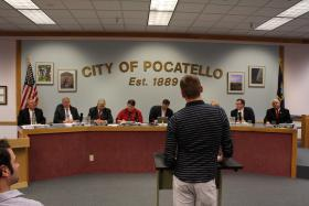The Pocatello City Council hears testimony from gay rights supporters at one of several public hearings in April 2013.