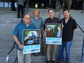 Supporters of same-sex marriage gathered outside the federal courthouse in Eugene.
