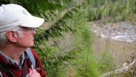 John Thompson, a geologist and senior planner with Whatcom County, surveys the Jim Creek and Bald Mountain landslides along Canyon Creek. The slides have blocked the creek repeatedly, causing flooding that has destroyed homes downstream.